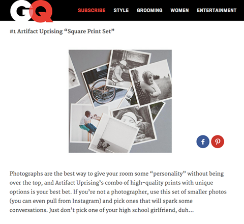 GQ features Artifact Uprising Square Prints Set