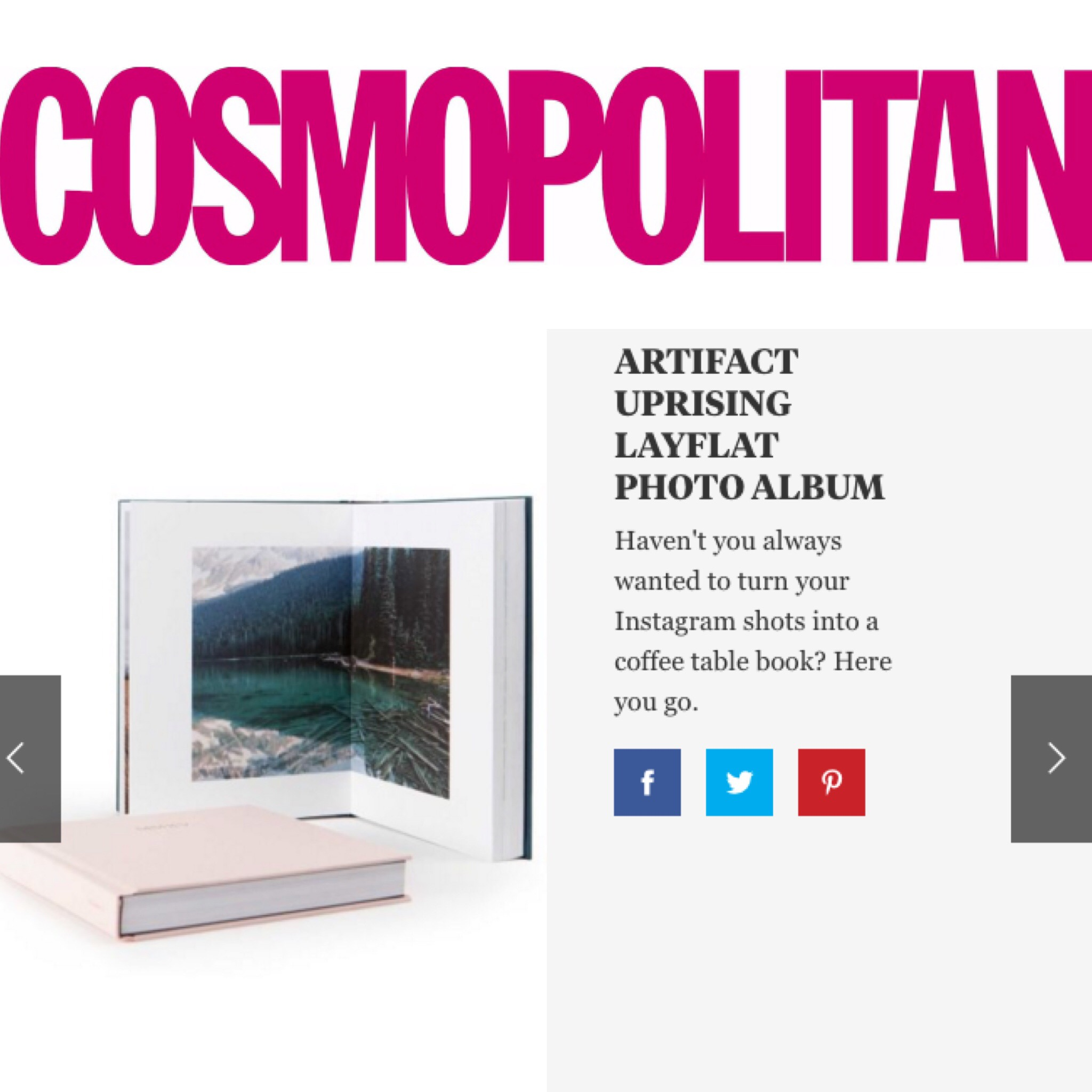 Artifact Uprising Layflat Album on Cosmopolitan Gift Guide