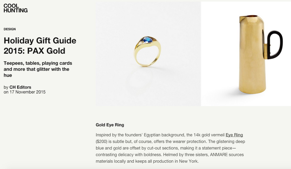 Eye Ring Anmare Jewelry in Cool Hunting's Holiday Gift Guide