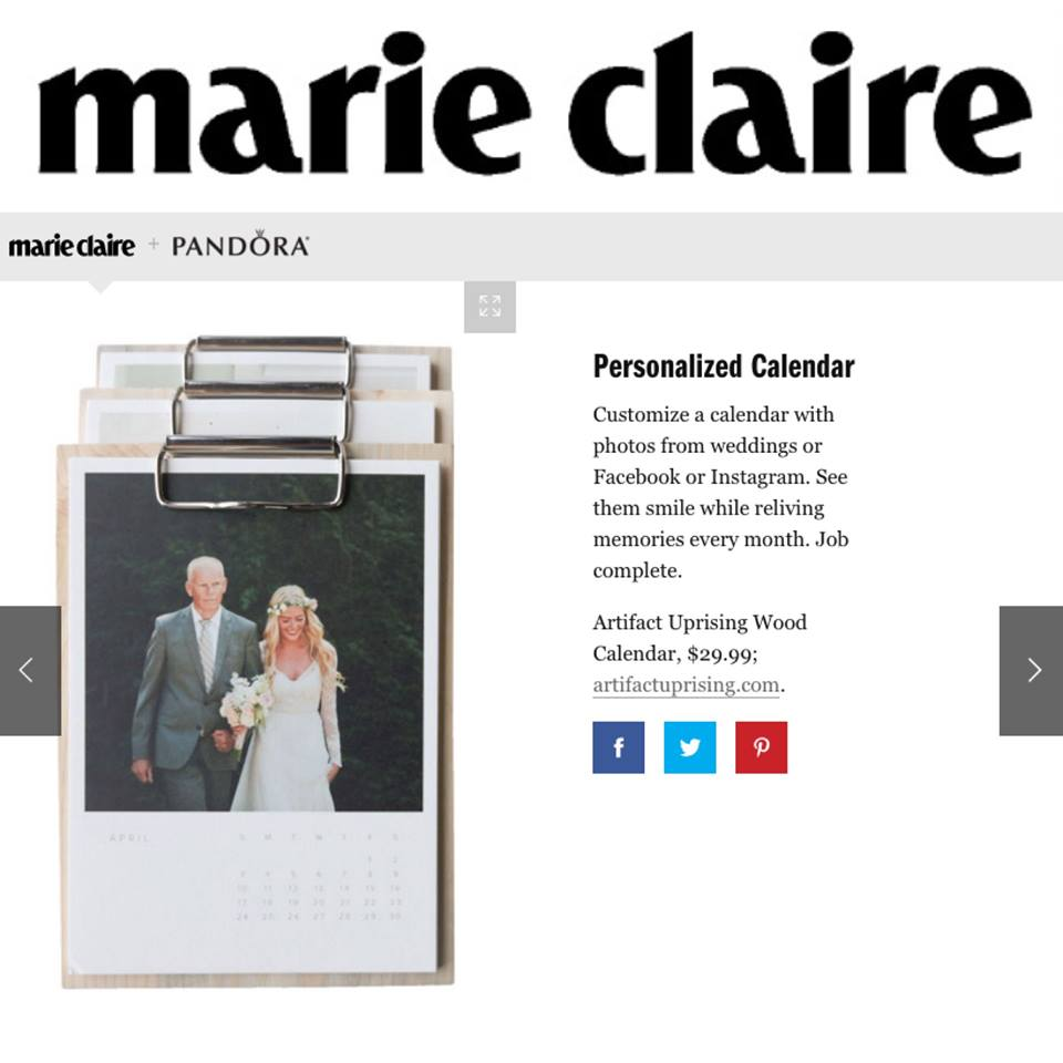 Artifact Uprising Wood Calendar make Marie Claire's Holiday Gift Guide