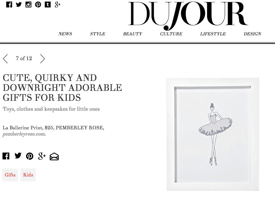 Dujour Kids Gift Guide including La Ballerine Print from Pemberley Rose