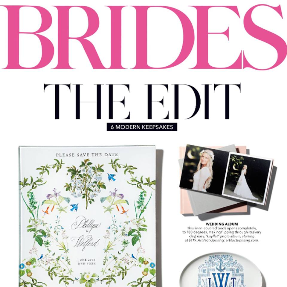 Artifact Uprising Layflat Album featured in Brides February and March Issue