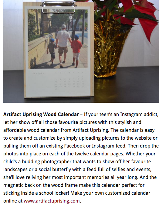 Artifact Uprising Wood Calendar included in Mommy Kat and Kids Holiday Gift Guide