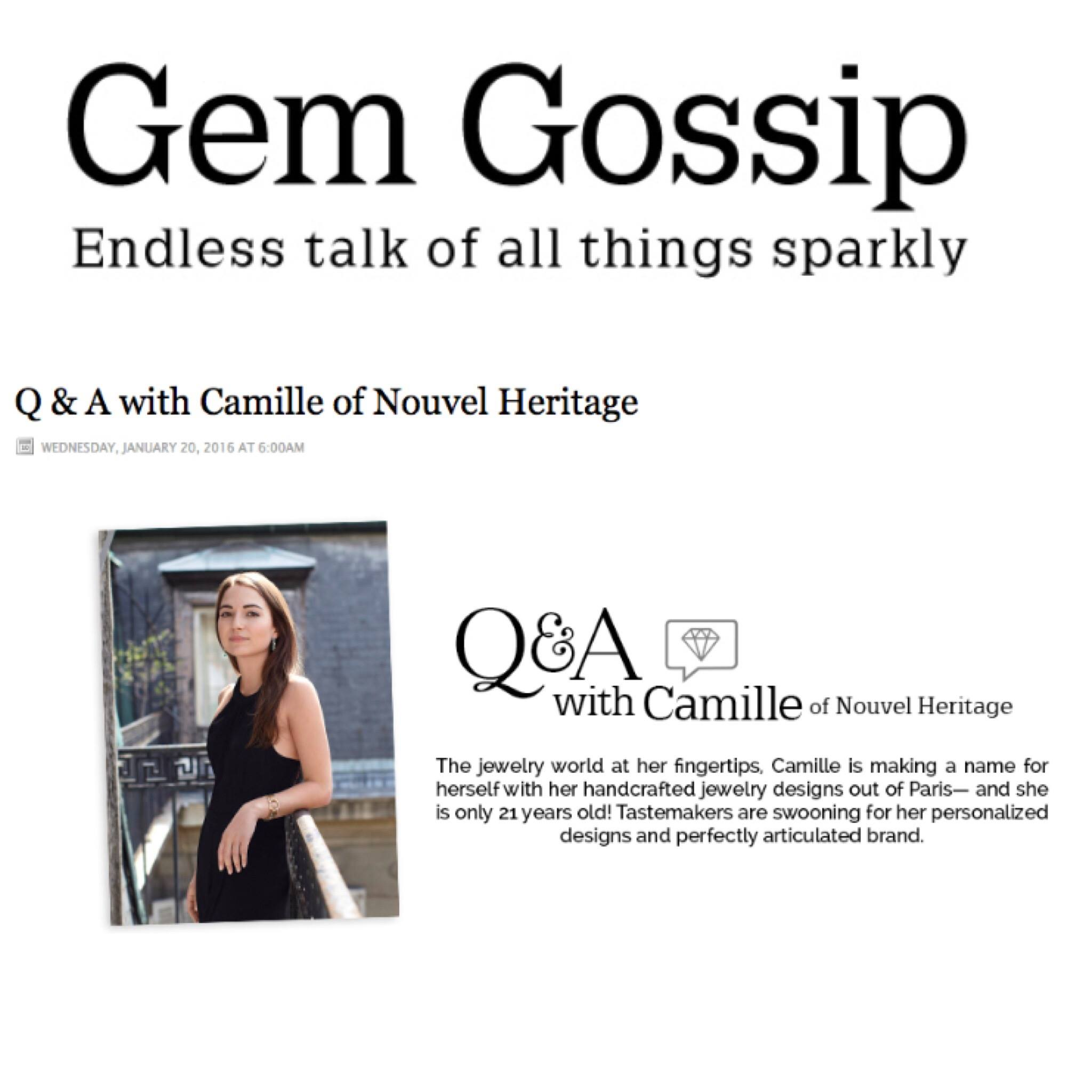 Camille of Nouvel Heritage featured in Gem Gossip