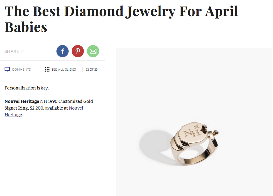 Nouvel Heritage featured on Refinery29 with the NH 1990 Customized Gold Signet Ring