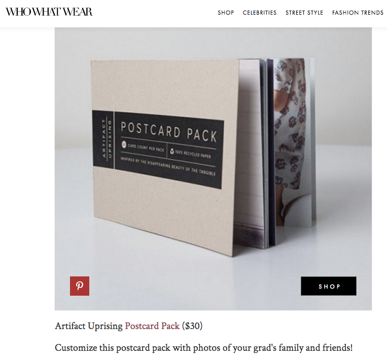 Artifact Uprising featured in WhoWhatWear