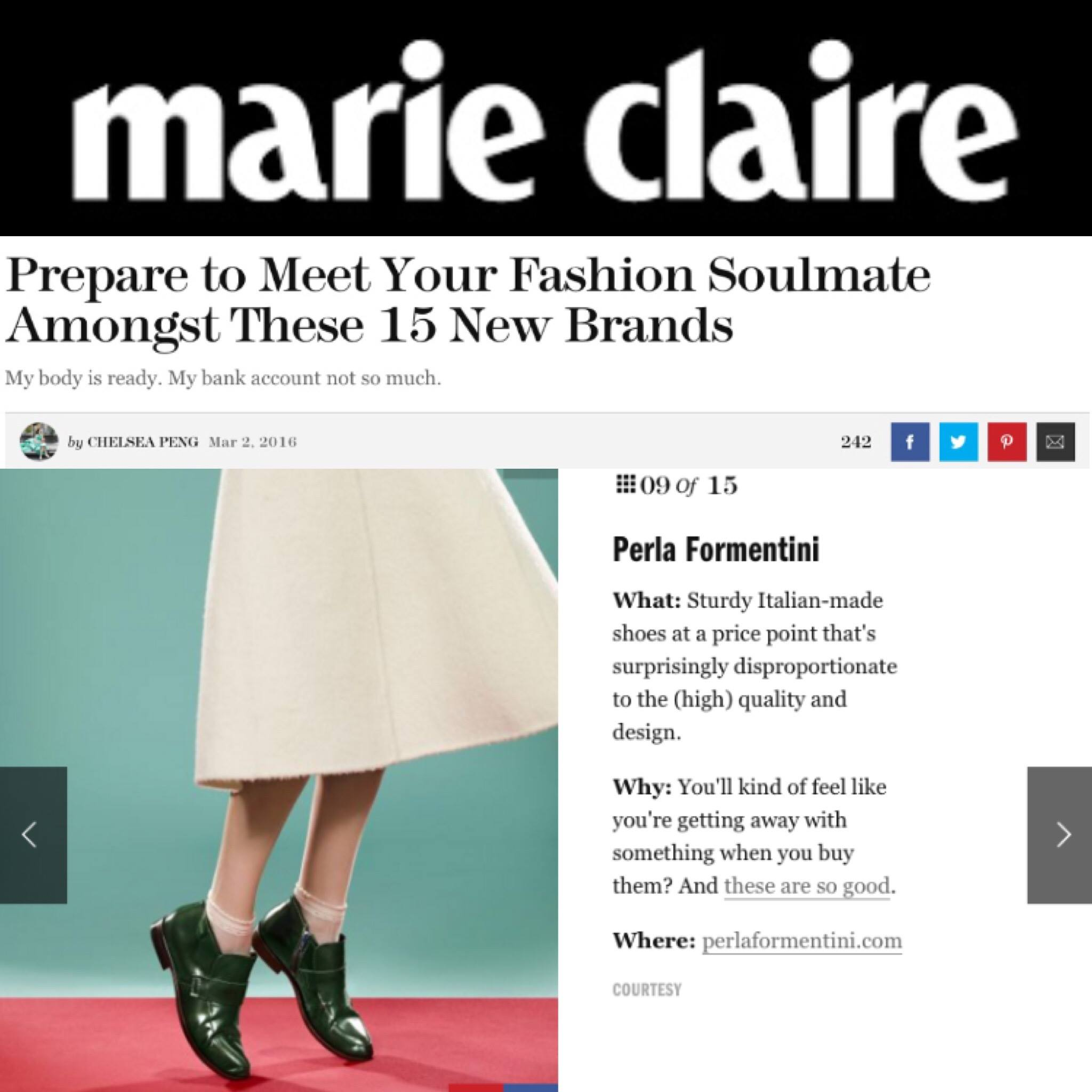 Perla Formentini featured in Marie Claire!