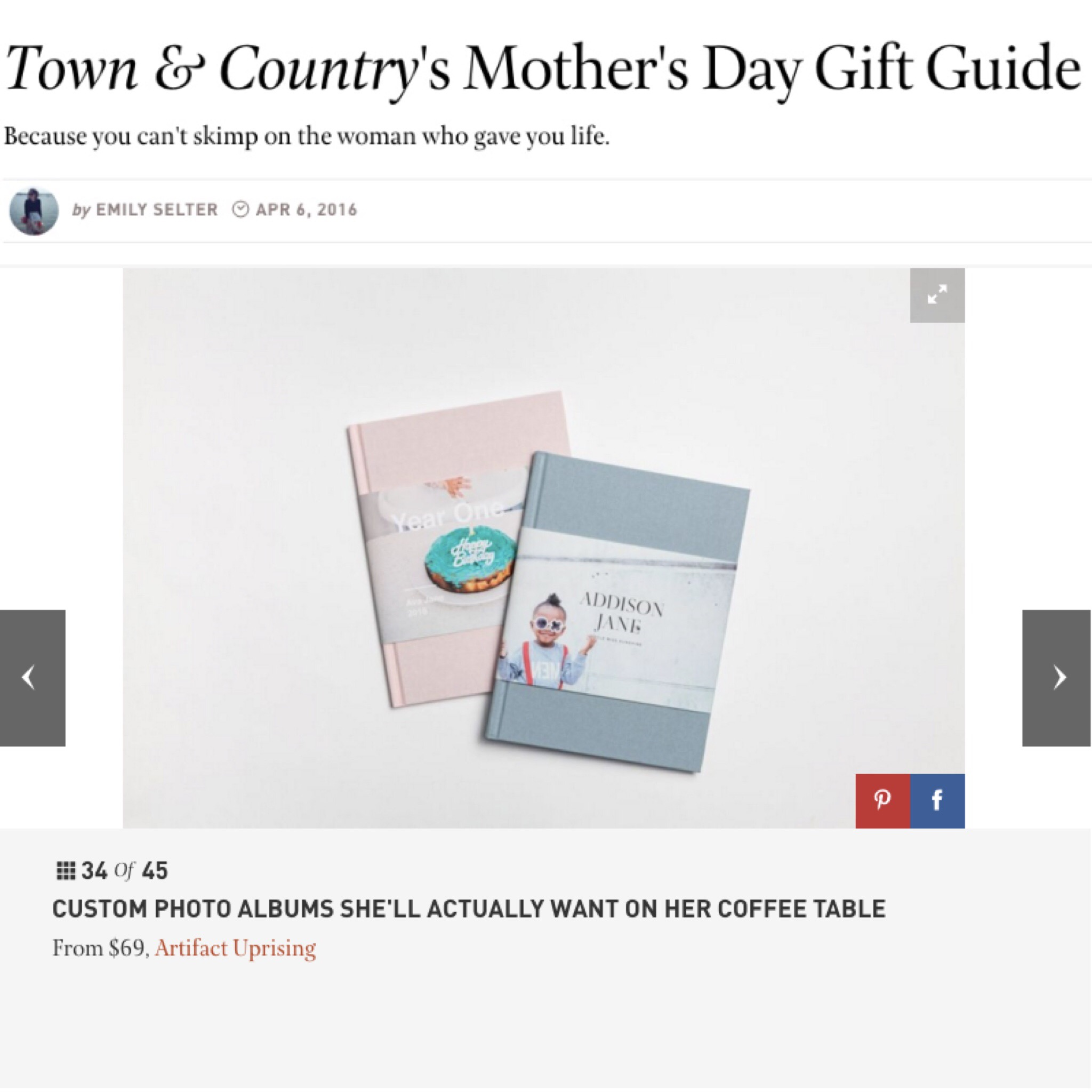 Artifact Uprising made it in the Town & Country's Mother's Day Gift Guide.